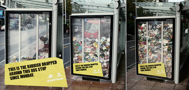Bus stop Auckland - rubbish campaign